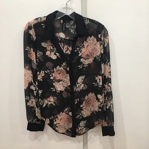 Floral & Skull Button-Up Blouse